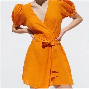Zara Wrap Linen Dress XS
